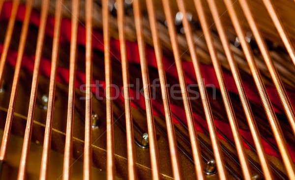 Zongora makró közelkép kép belső hangversenyzongora Stock fotó © backyardproductions
