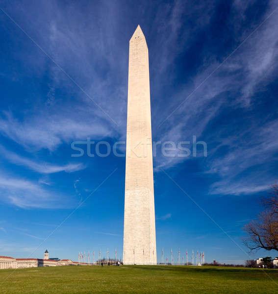 Grandangolo view Washington Monument inverno giorno cielo Foto d'archivio © backyardproductions