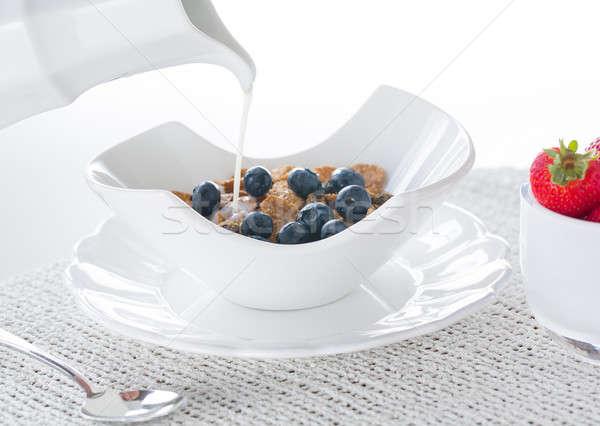 Café da manhã farelo mirtilos morangos moderno Foto stock © backyardproductions