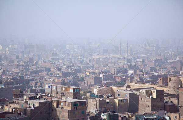 View over smoggy slums of Cairo Stock photo © backyardproductions