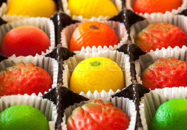 Macro image of marzipan fruit candies Stock photo © backyardproductions