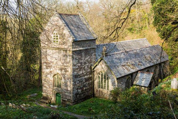 Minster church in Valency woods near Boscastle Stock photo © backyardproductions