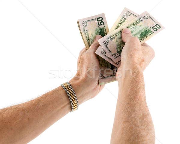 Kaukázusi nemzetiség kezek felajánlás pénz ötven Stock fotó © backyardproductions