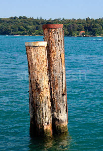Wood piles in Lake Garda Stock photo © backyardproductions