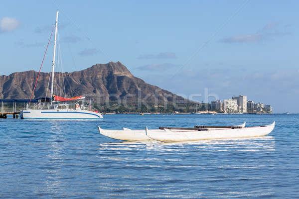 Boat docked by Diamond Head Waikiki Hawaii Stock photo © backyardproductions