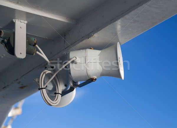 White painted loudspeaker on ship Stock photo © backyardproductions