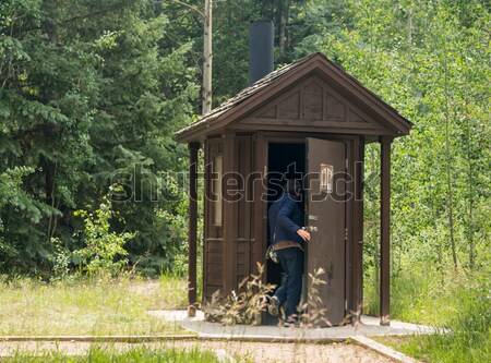 Wooden restroom in forest Stock photo © backyardproductions