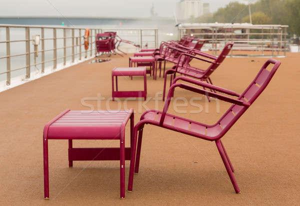 Sandalye güverte nehir seyir tekne yağmur Stok fotoğraf © backyardproductions
