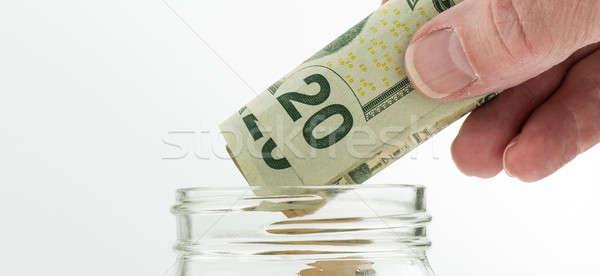 Caucasiano mão vinte jarra Foto stock © backyardproductions