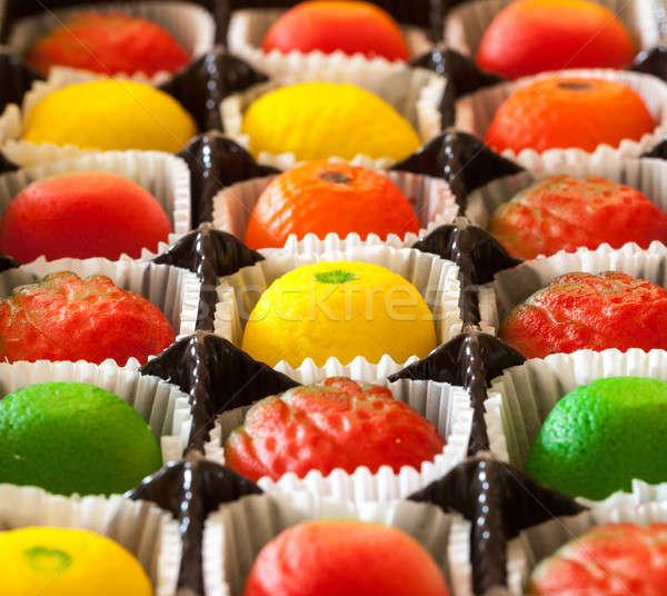 Makró kép marcipán gyümölcs cukorkák alakú Stock fotó © backyardproductions
