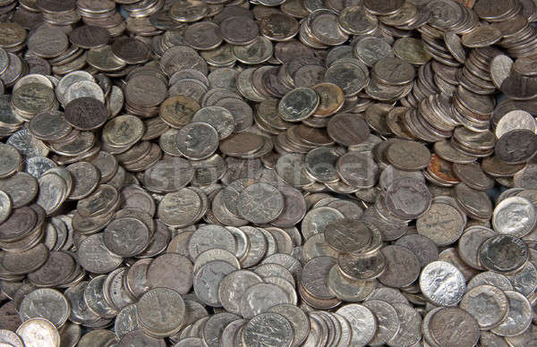 Pile of silver dime coins Stock photo © backyardproductions