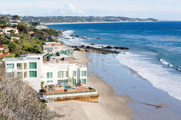 Houses by ocean in Malibu california Stock photo © backyardproductions