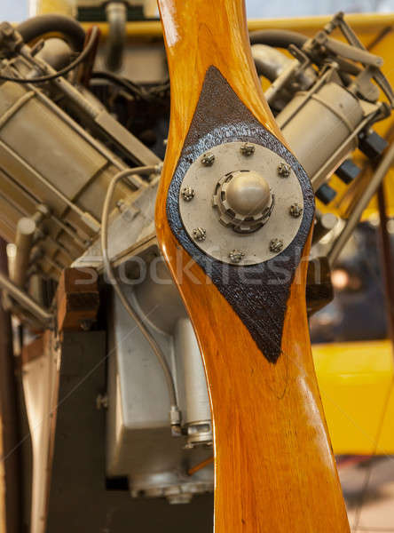 Antique wooden propeller from old aircraft Stock photo © backyardproductions