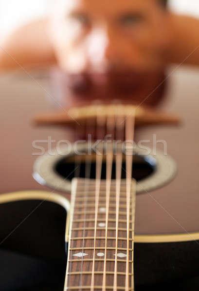 Stock fotó: Kilátás · lefelé · gitár · arc · makró · lövés