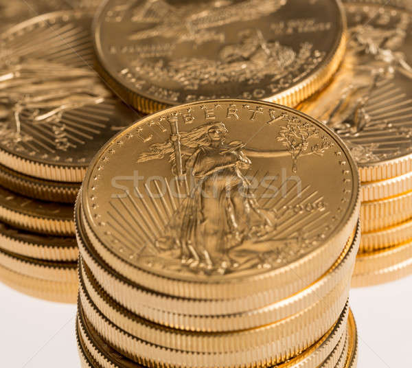 Stock fotó: Gyűjtemény · egy · arany · érmék · arany · sas · arany