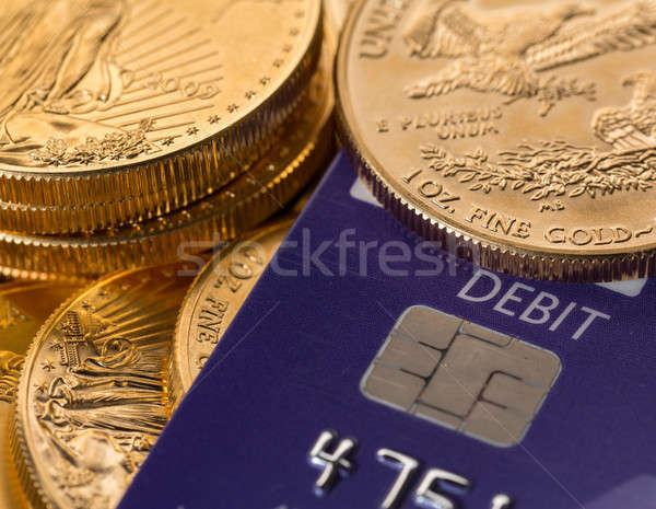 Gouden munten chip pin debit card solide debet Stockfoto © backyardproductions