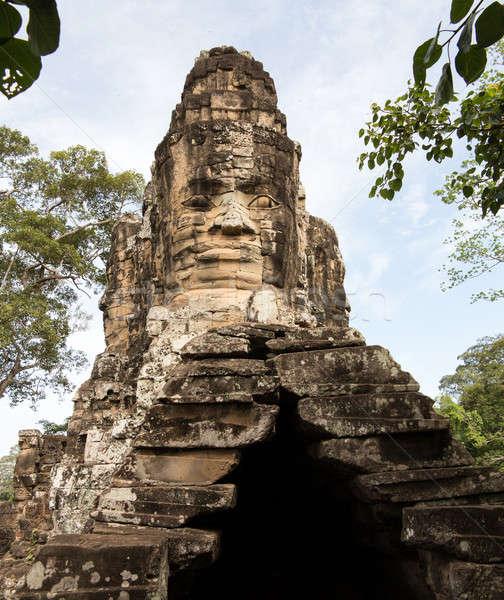 Güney kapı angkor Kamboçya taş ibadet Stok fotoğraf © backyardproductions