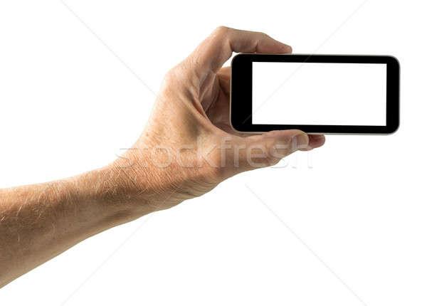 изолированный изображение стороны смартфон экране мужчины Сток-фото © backyardproductions