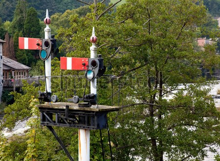 Llangollen station in Wales with the semaphone signals at red Stock photo © backyardproductions