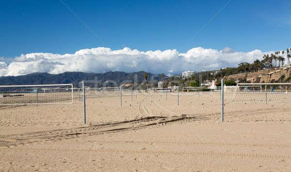Empty beach volleyball courts Santa Monica Stock photo © backyardproductions