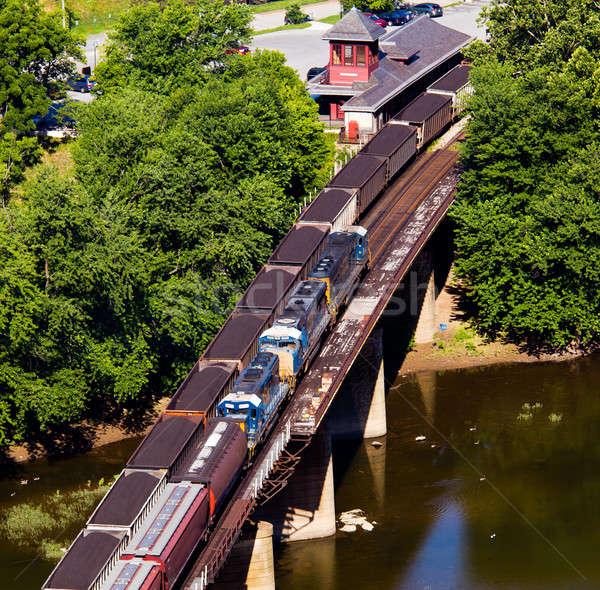 Luchtfoto pont rail station park stad Stockfoto © backyardproductions