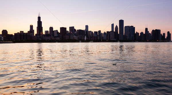 Pôr do sol Chicago linha do horizonte velho pato céu Foto stock © backyardproductions