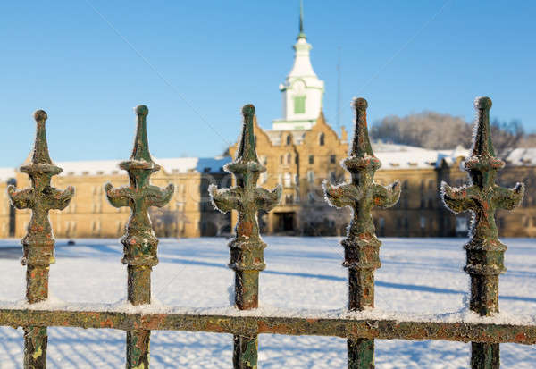 Railings in snow outside Trans-Allegheny Lunatic Asylum Stock photo © backyardproductions