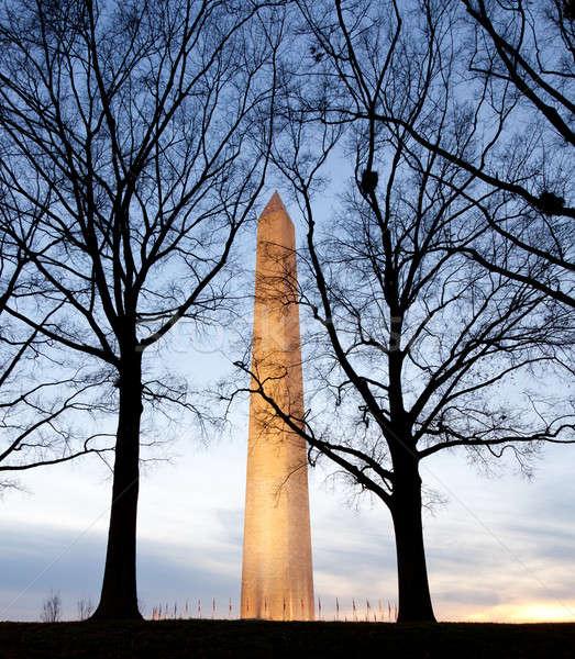 Geniş açı görmek Washington Anıtı akşam karanlığı güneş kule Stok fotoğraf © backyardproductions