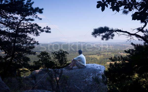 Stock photo: Senior hiker overlooks Virginia