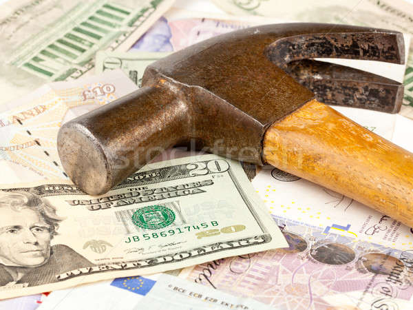 Stockfoto: Hamer · top · dollar · nota · macro · oude