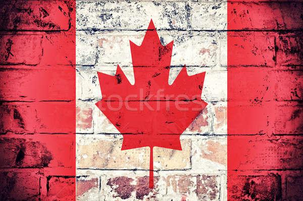 Drapeau canadien grunge pavillon Canada vieux mur Photo stock © badmanproduction