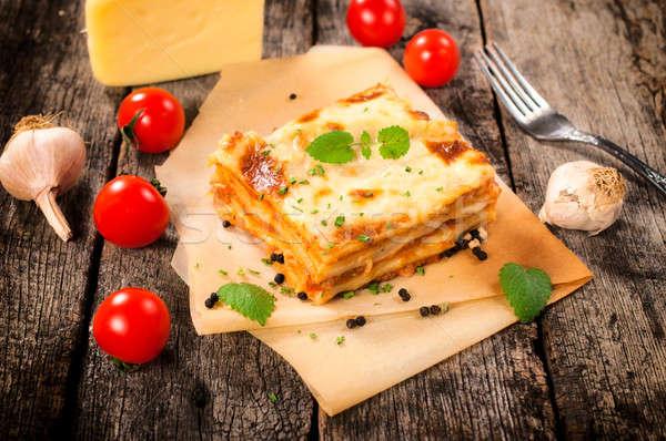 Fatto in casa lasagna focus alimentare salute tavola Foto d'archivio © badmanproduction