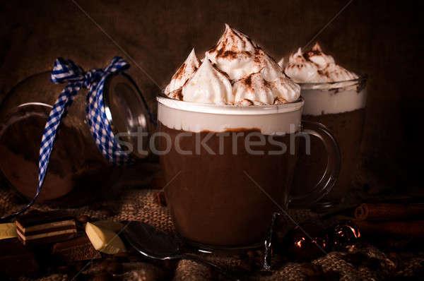 Zoete tijd warme chocolademelk witte kaas room Stockfoto © badmanproduction