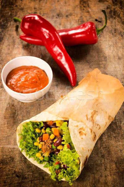 Sandviç salsa sos ahşap odak Stok fotoğraf © badmanproduction