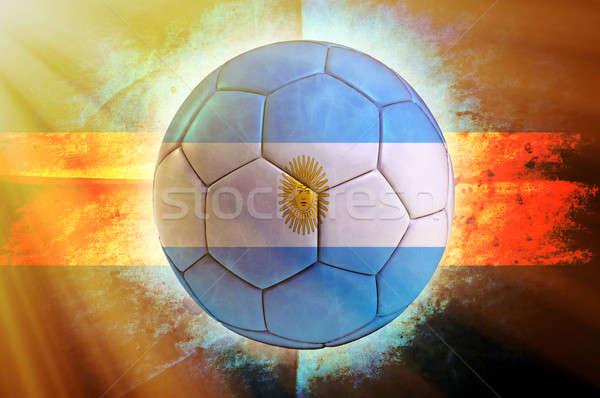 Stock fotó: Labda · futballabda · zászló · nap · sport · absztrakt