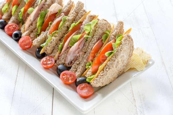 Stock foto: Sandwich · Zeit · Club · Sandwiches · Platte · weiß