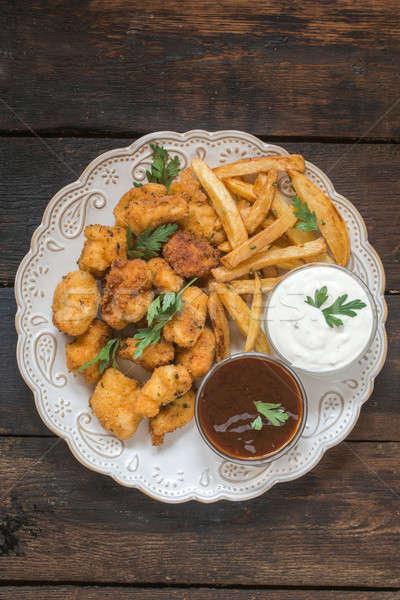 Сток-фото: куриные · картофель · фри · пластина · продовольствие · ресторан