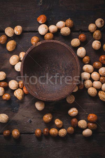 ázsiai földimogyoró harapnivalók keverék üres tál Stock fotó © badmanproduction