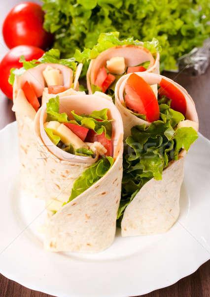 Tortilla sandviçler seçici odak gıda yeşil Stok fotoğraf © badmanproduction