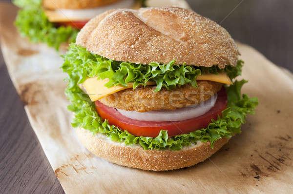 Fishburger close up Stock photo © badmanproduction