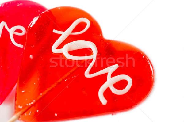 Sevmek beyaz yalıtılmış doku şeker Stok fotoğraf © badmanproduction