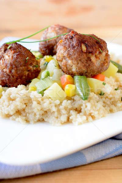 Carne couscous prato foco Foto stock © badmanproduction