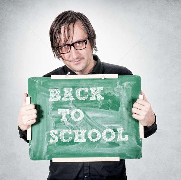 Terug naar school man groene boord textuur school Stockfoto © badmanproduction