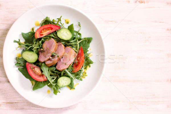 Geserveerd maaltijd schotel groenten vlees ruimte Stockfoto © badmanproduction