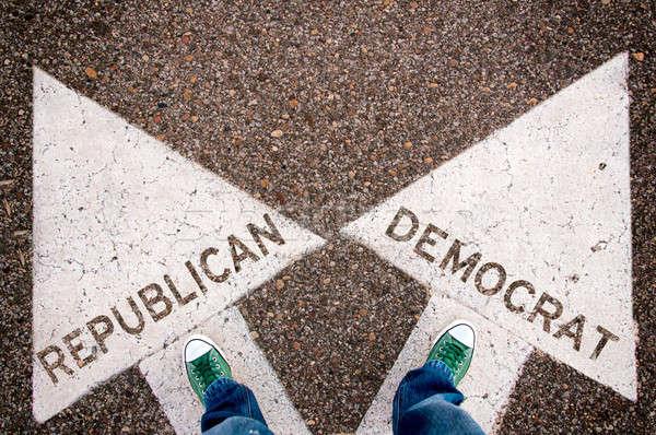Republikański demokrata podpisania zielone powyżej biały Zdjęcia stock © badmanproduction