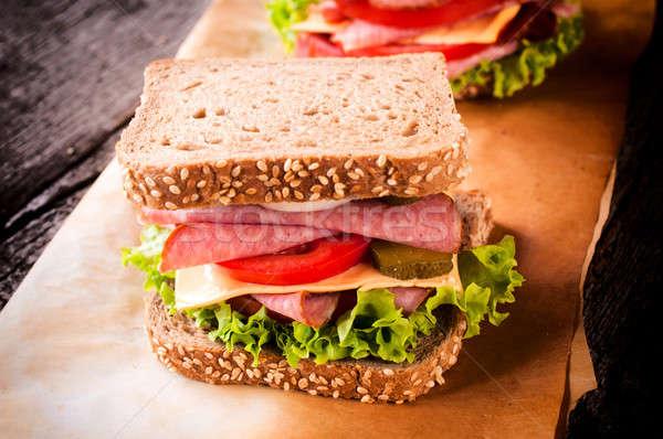 Stok fotoğraf: Sandviç · tost · gıda · ekmek · yumurta · salata