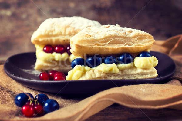 Cake wit berry fruit Stock photo © badmanproduction