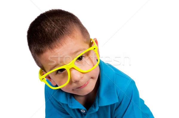 Kíváncsiság fiú izolált fehér gyermek test Stock fotó © badmanproduction