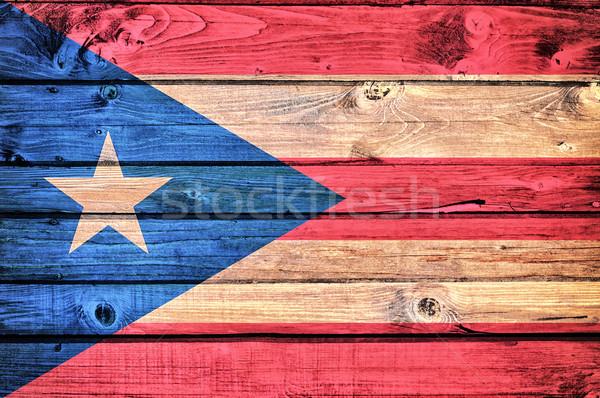 Cubaans vlag oude houten papier textuur Stockfoto © badmanproduction