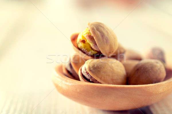 Merőkanál szelektív fókusz elöl fából készült gyümölcs háttér Stock fotó © badmanproduction